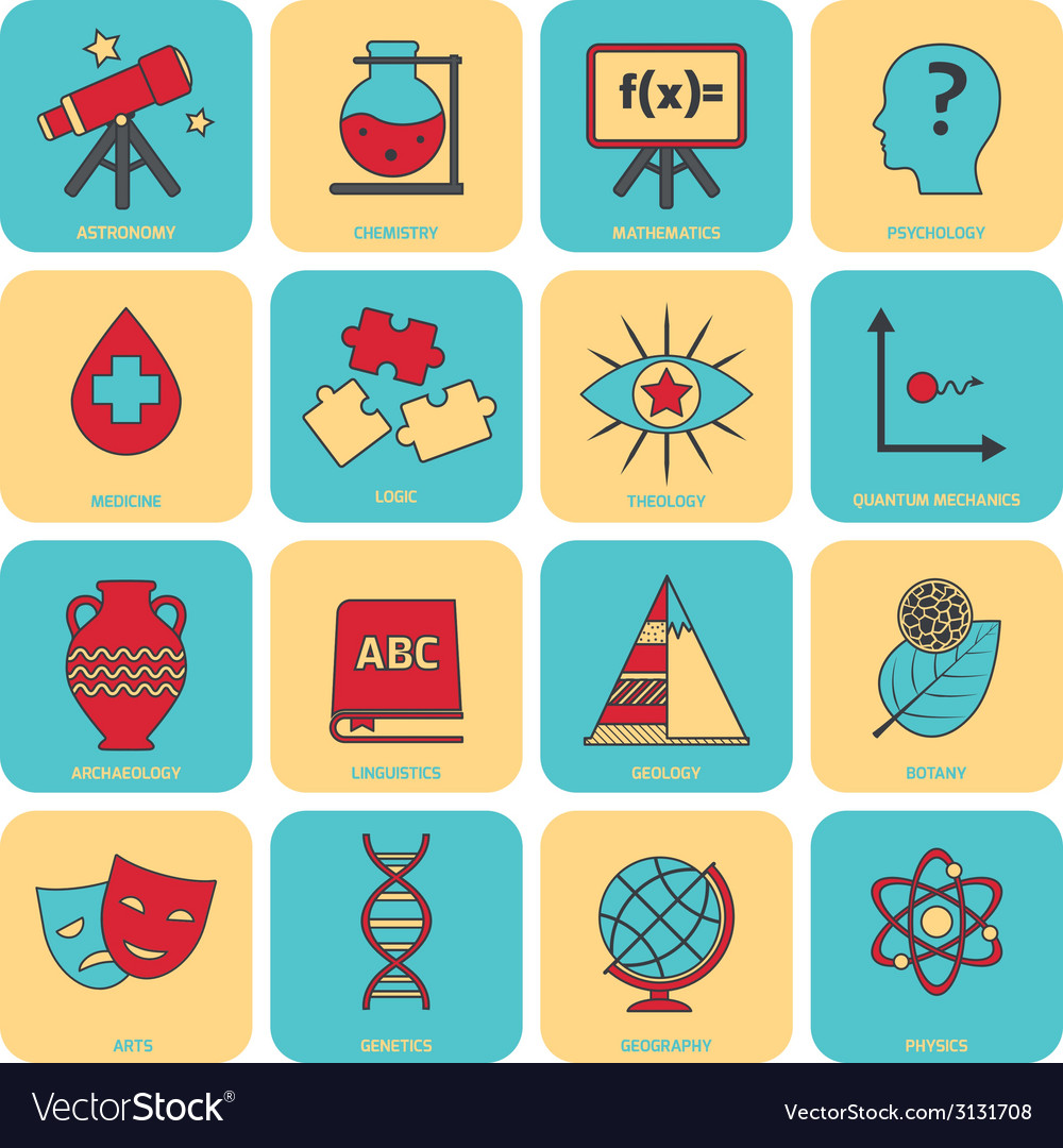 Science areas icons flat line vector | Price: 1 Credit (USD $1)