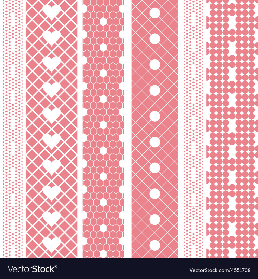 White lace ribbons fabric seamless pattern vector | Price: 1 Credit (USD $1)