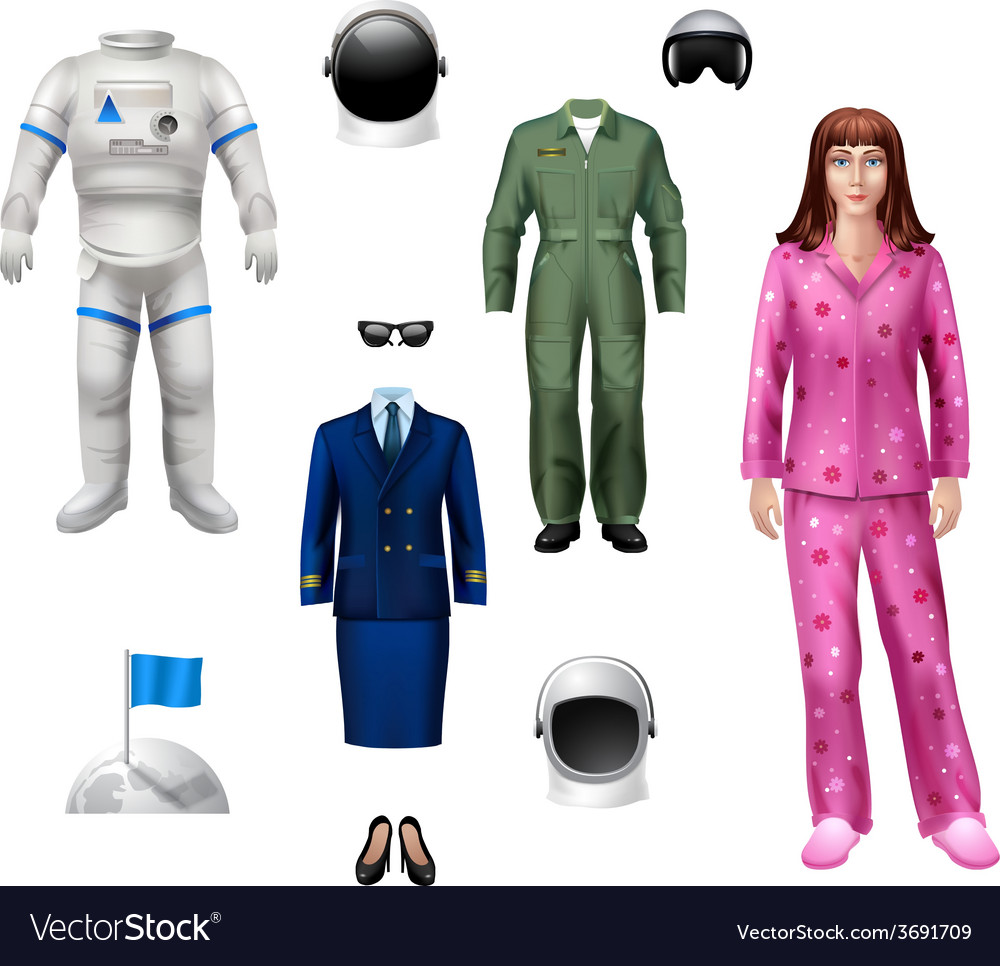 Astronaut girl pack vector | Price: 1 Credit (USD $1)