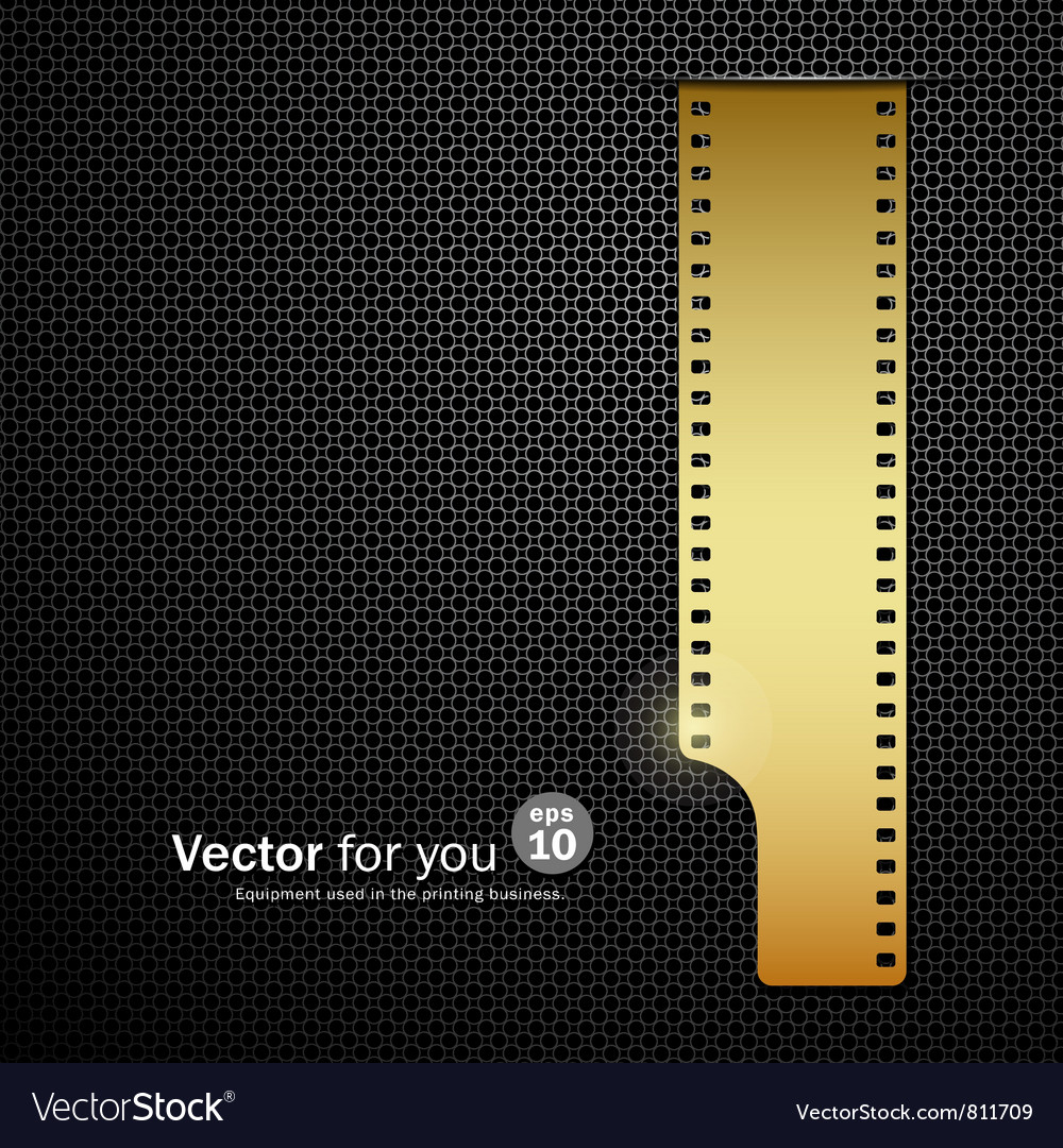 Camera film roll gold background vector | Price: 1 Credit (USD $1)