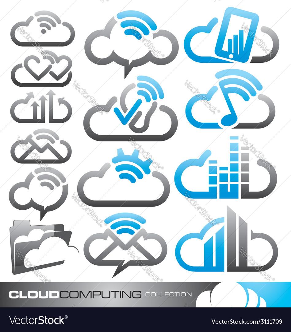 Cloud computing logo design concepts vector | Price: 1 Credit (USD $1)