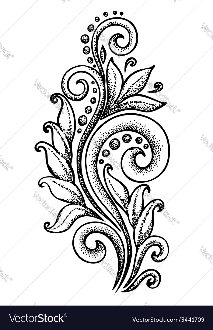 Curls in a graphic style points and lines vector | Price: 1 Credit (USD $1)