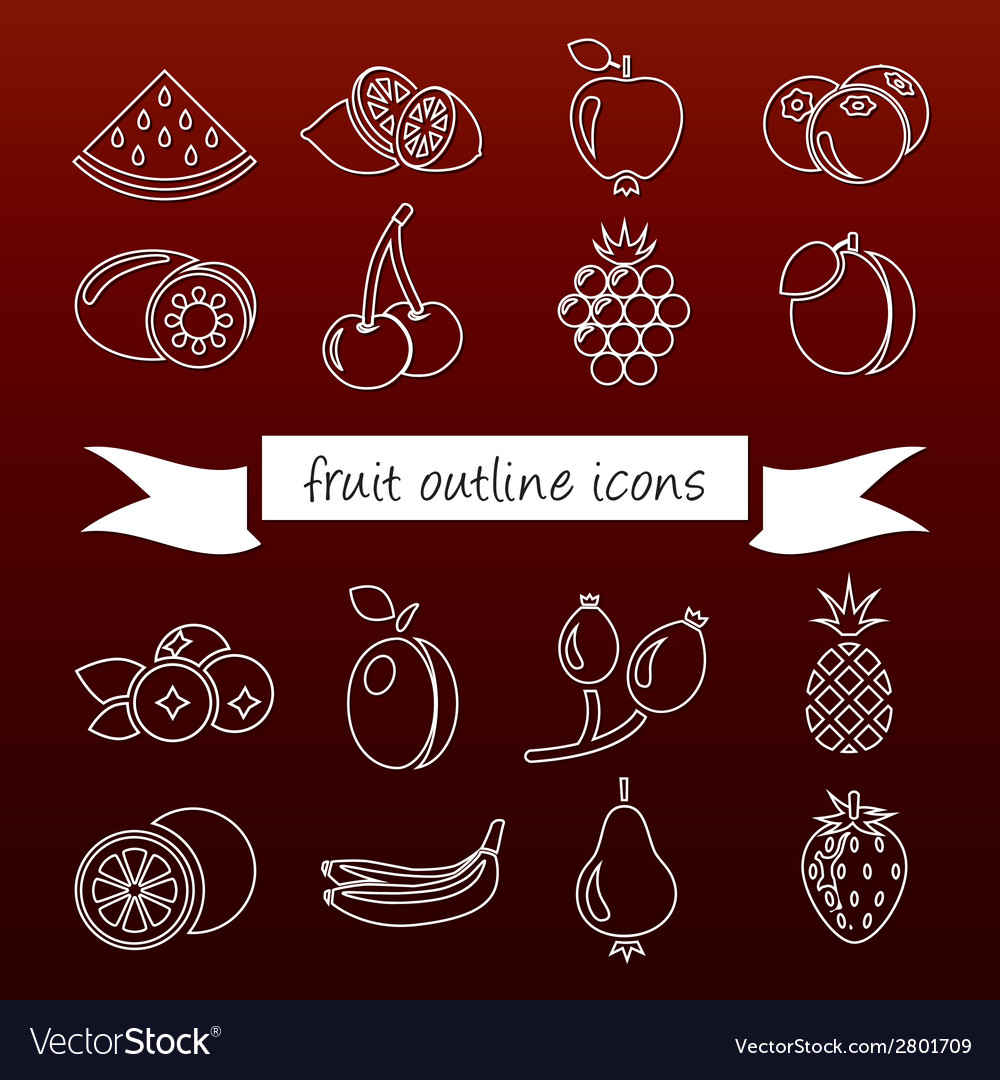 Fruit outline icons vector | Price: 1 Credit (USD $1)