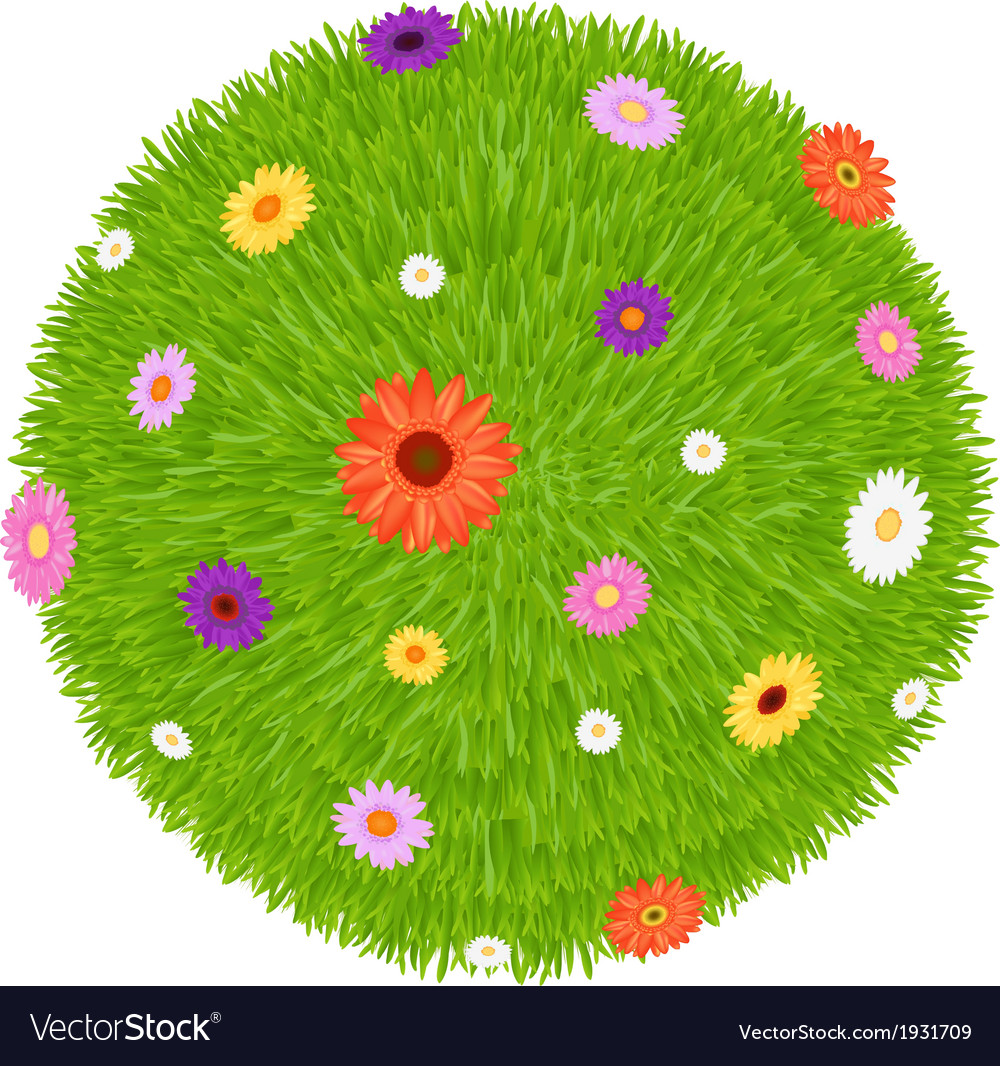 Grass ball with colourful flowers vector | Price: 1 Credit (USD $1)