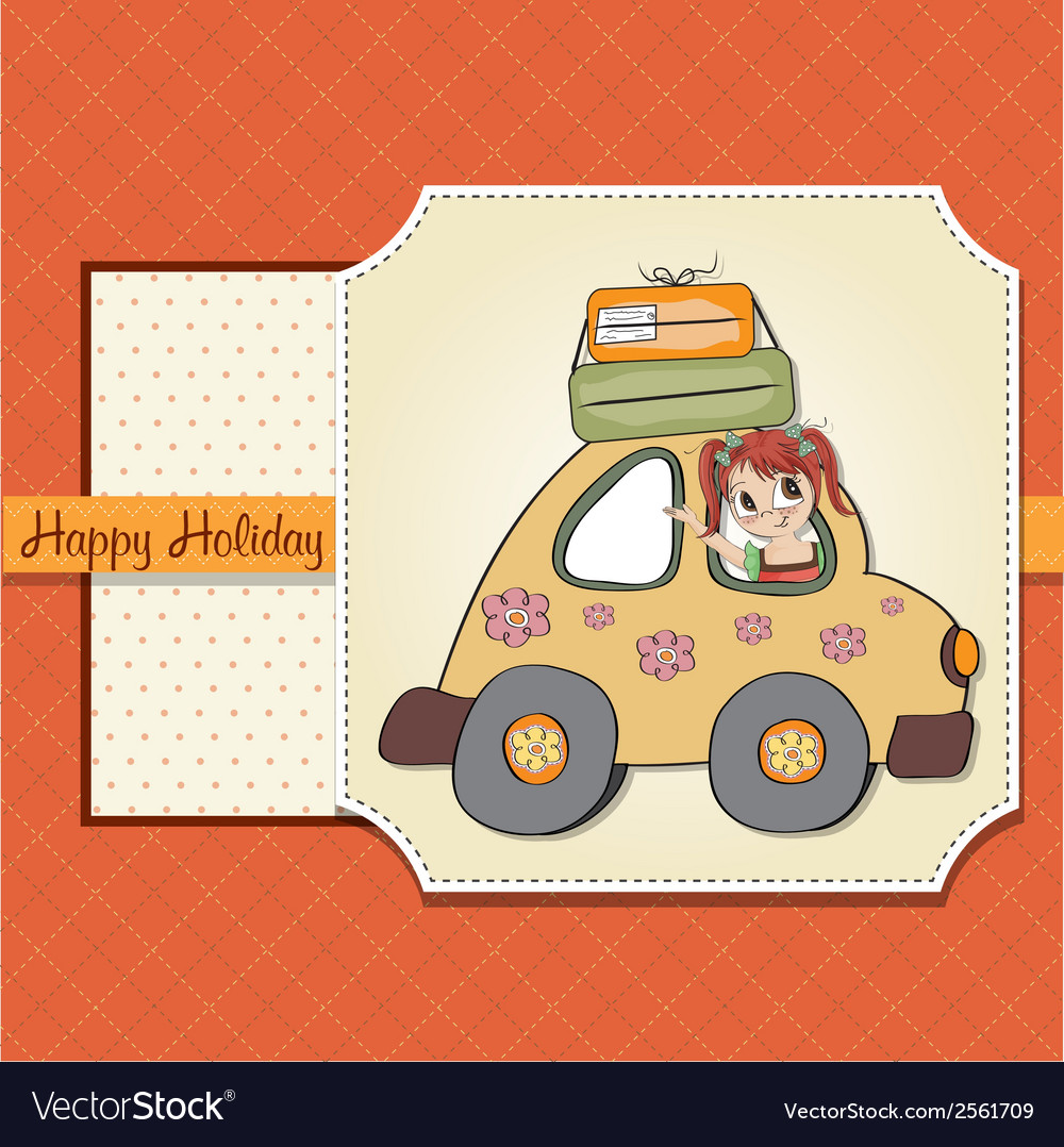 Happy woman going on holiday by car vector | Price: 1 Credit (USD $1)