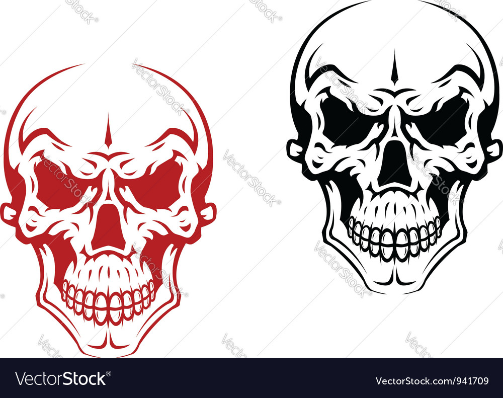Human skull for horror or halloween vector | Price: 1 Credit (USD $1)