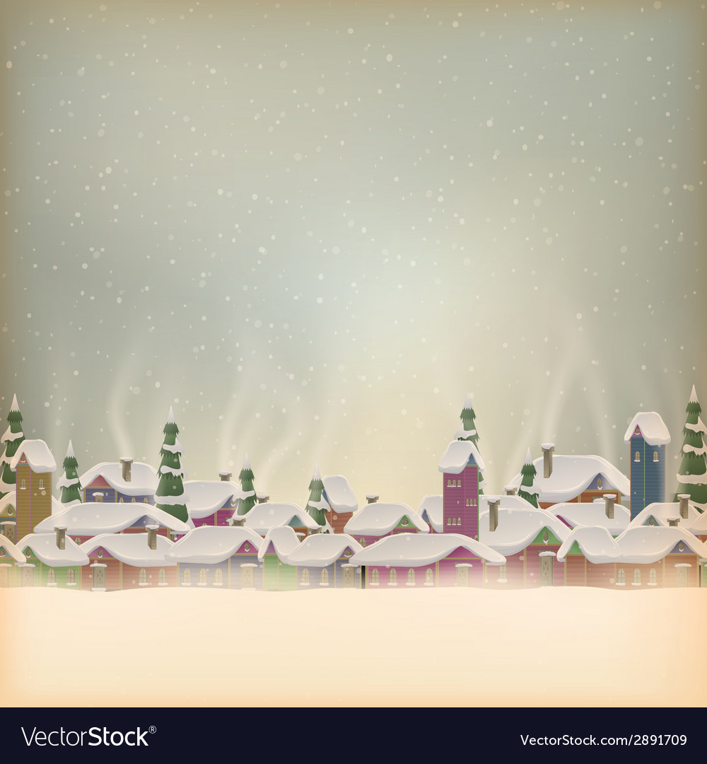 Merry christmas retro postcard village eps 10 vector | Price: 1 Credit (USD $1)