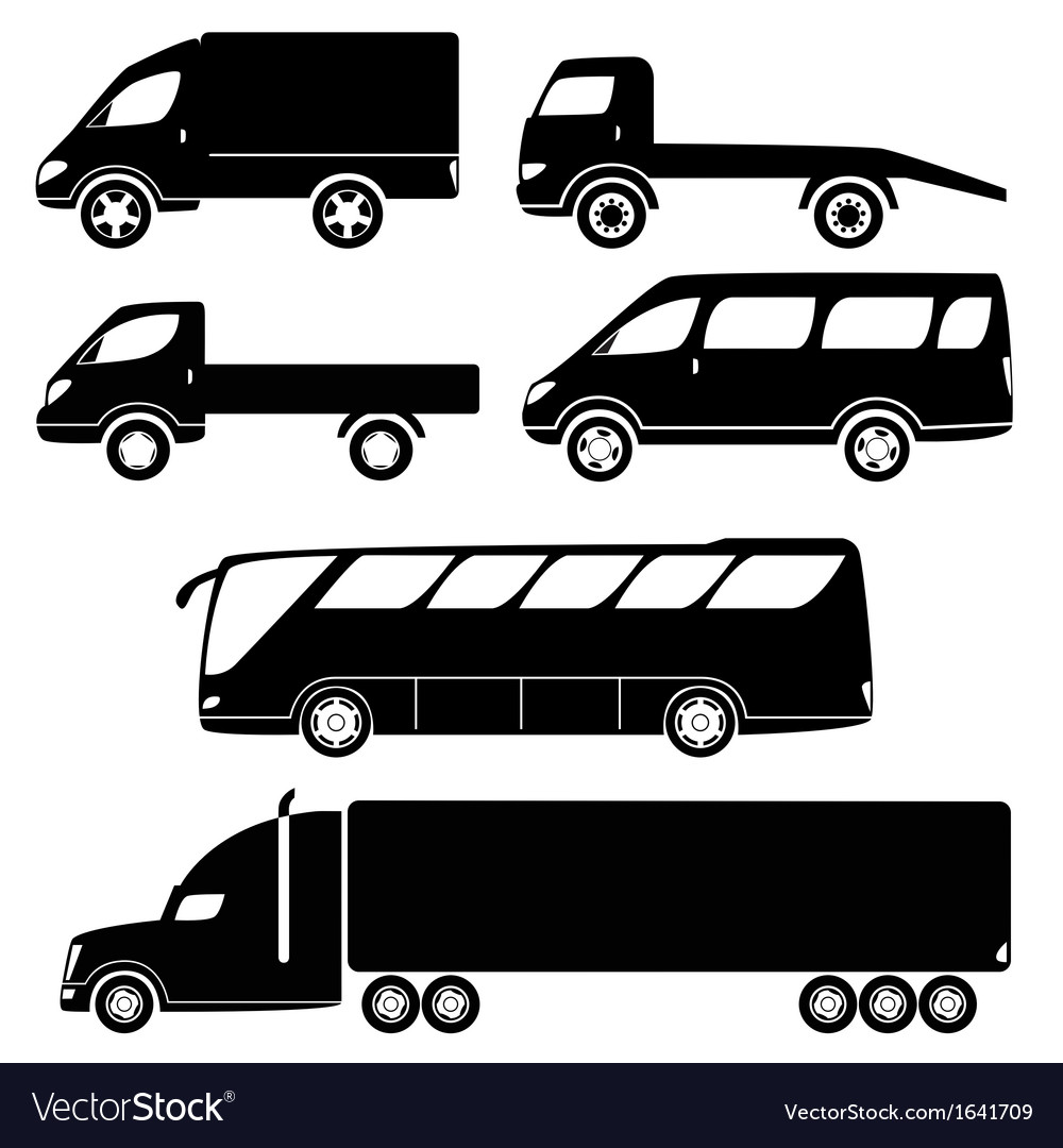 Modern passenger and freight cars silhouettes vector | Price: 1 Credit (USD $1)