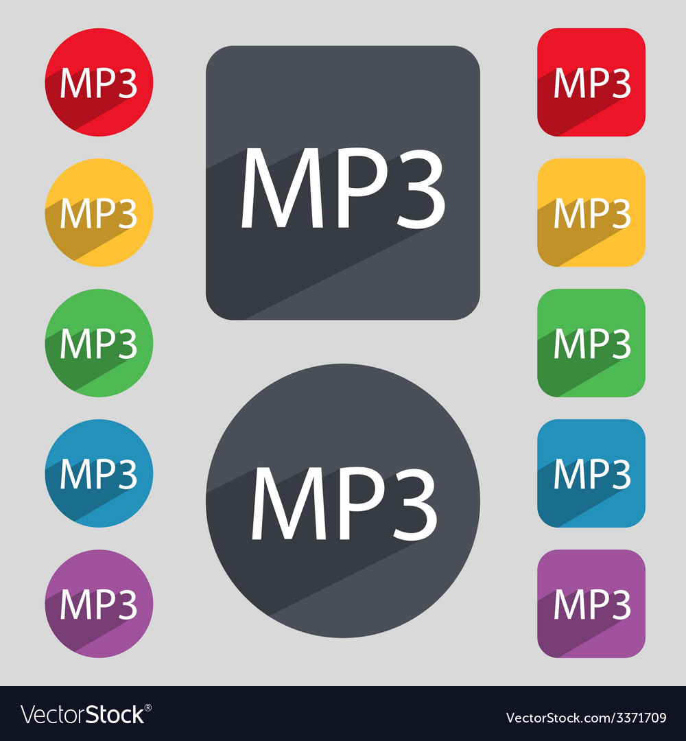 Mp3 music format sign icon musical symbol set of vector | Price: 1 Credit (USD $1)