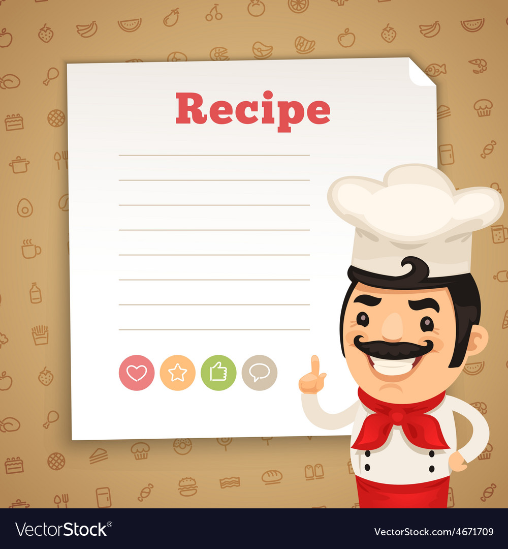 Recipe card with chef vector | Price: 3 Credit (USD $3)