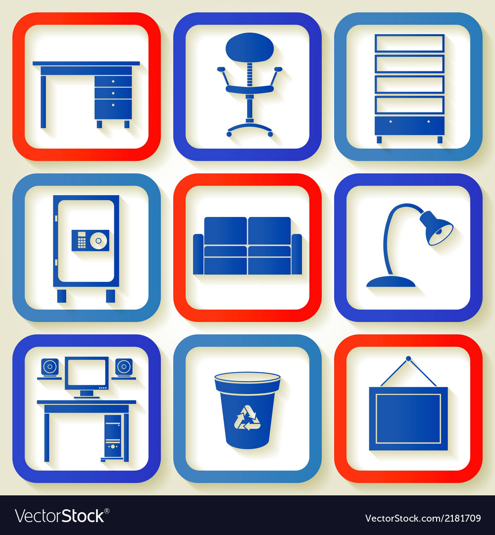 Set of 9 retro icons with office furniture vector | Price: 1 Credit (USD $1)