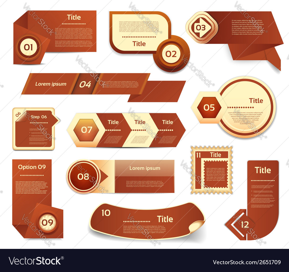 Set of brown progress version step icons eps 10 vector | Price: 1 Credit (USD $1)