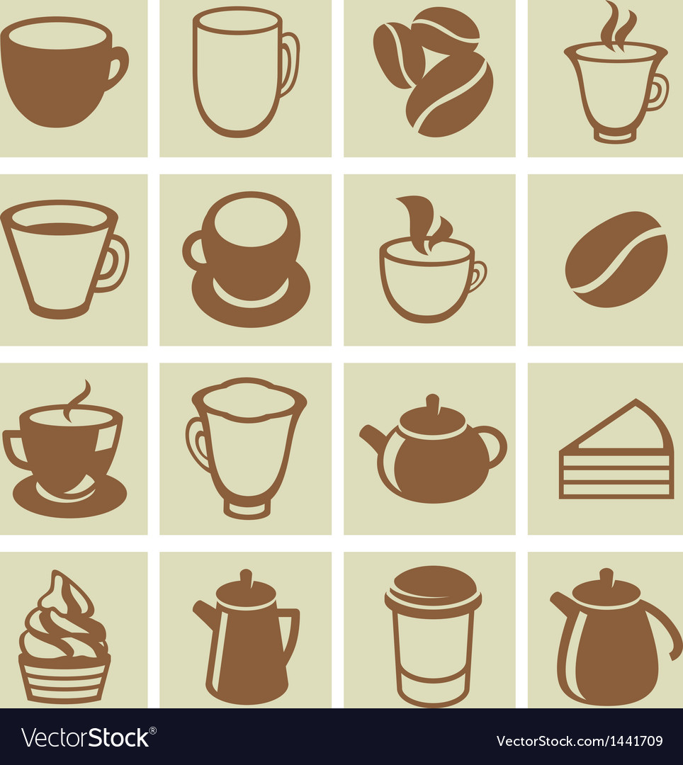 Set of coffee and tea icons vector | Price: 1 Credit (USD $1)