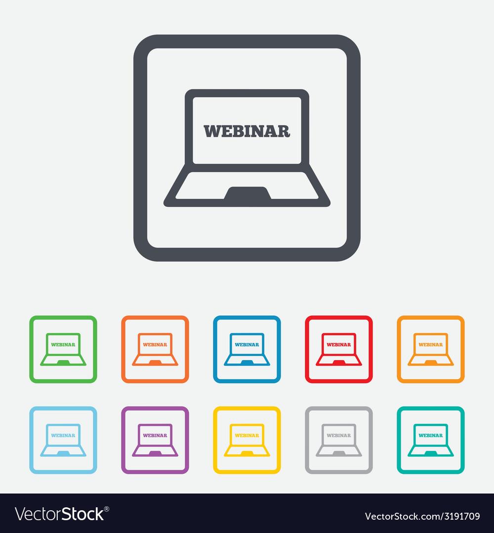 Webinar laptop sign icon notebook web study vector   Price: 1 Credit (USD $1)
