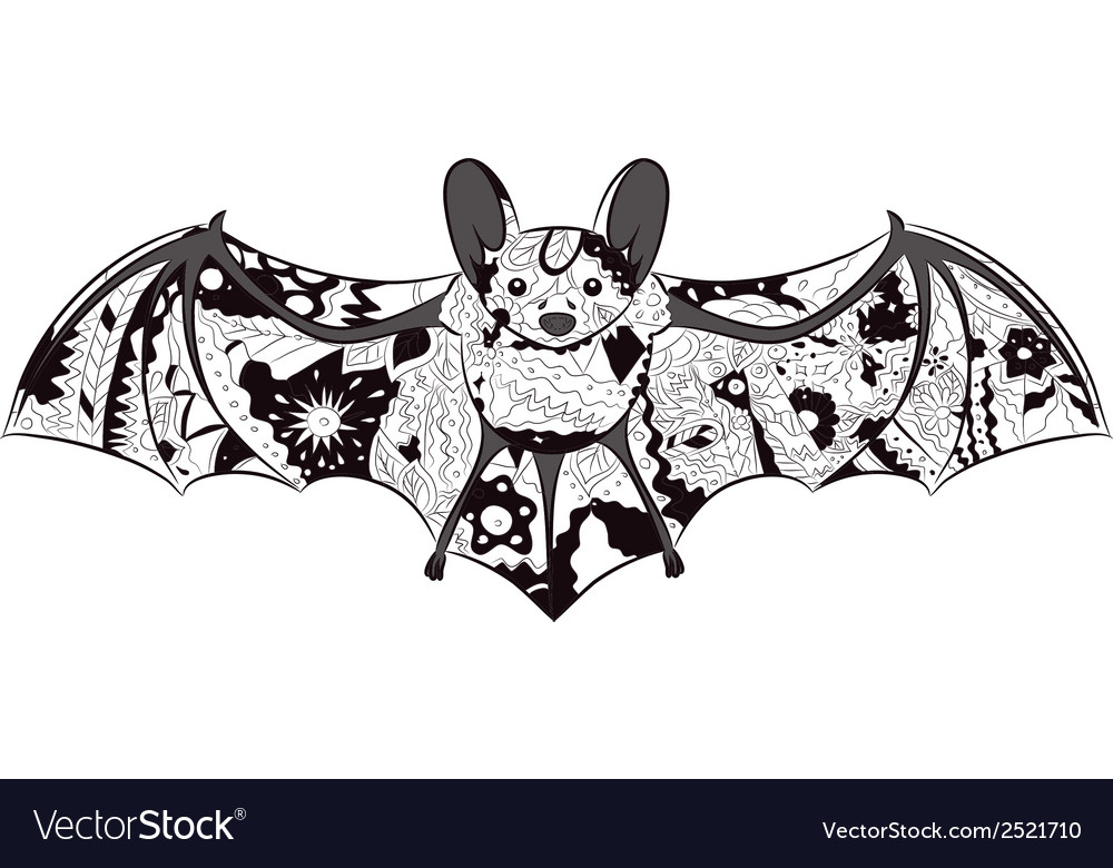 Black-and-white bat vector | Price: 1 Credit (USD $1)