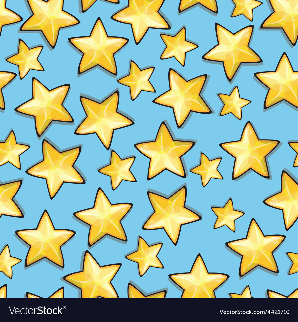 Cartoon stars against blue background seamless vector | Price: 1 Credit (USD $1)