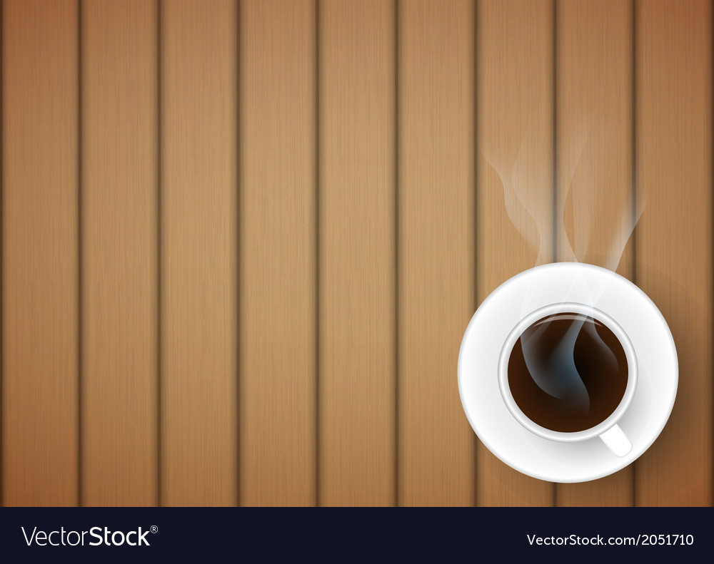Coffee cup against wooden background vector   Price: 1 Credit (USD $1)