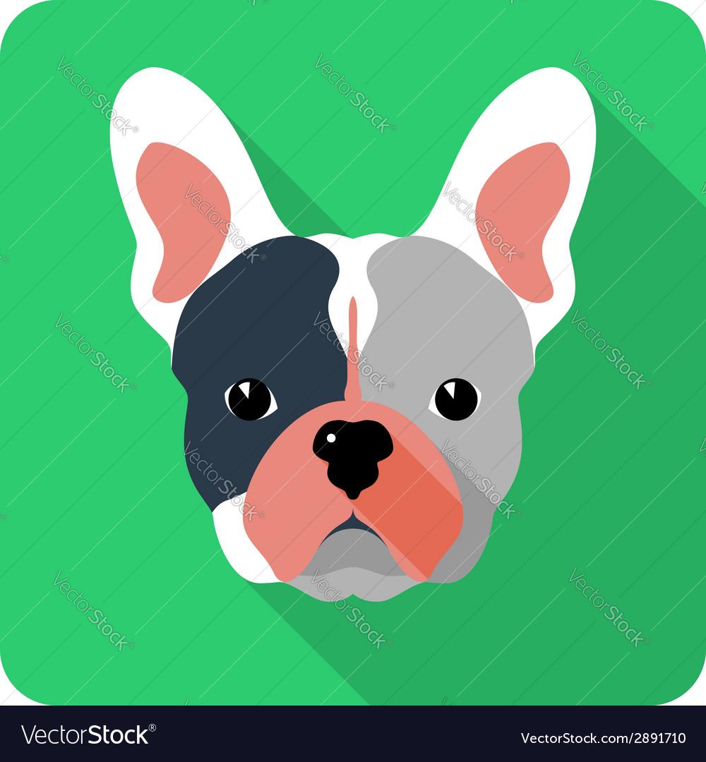 Dog french bulldog icon flat design vector | Price: 1 Credit (USD $1)