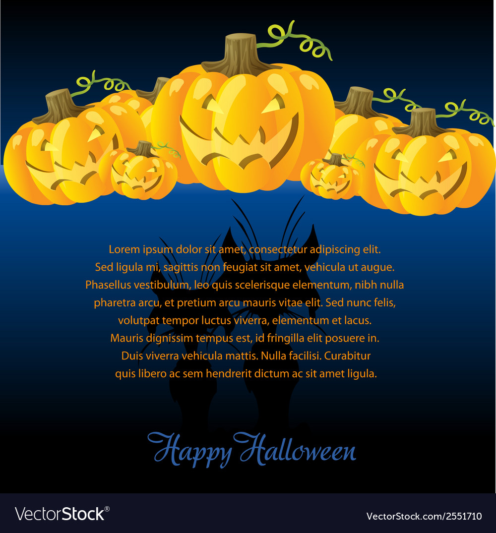 Halloween with pumpkins for invite cards vector | Price: 1 Credit (USD $1)