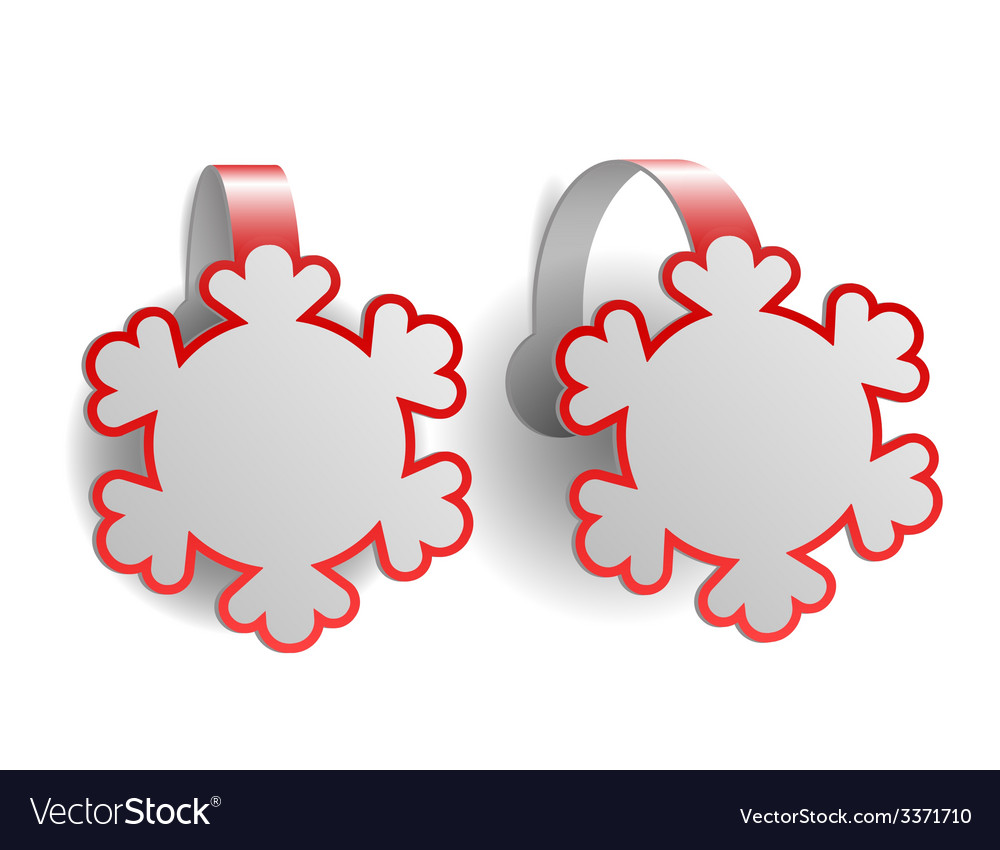 Red advertising wobblers shaped like snowflakes vector | Price: 1 Credit (USD $1)