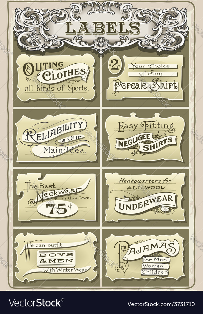 Set of vintage clothing labels vector | Price: 3 Credit (USD $3)