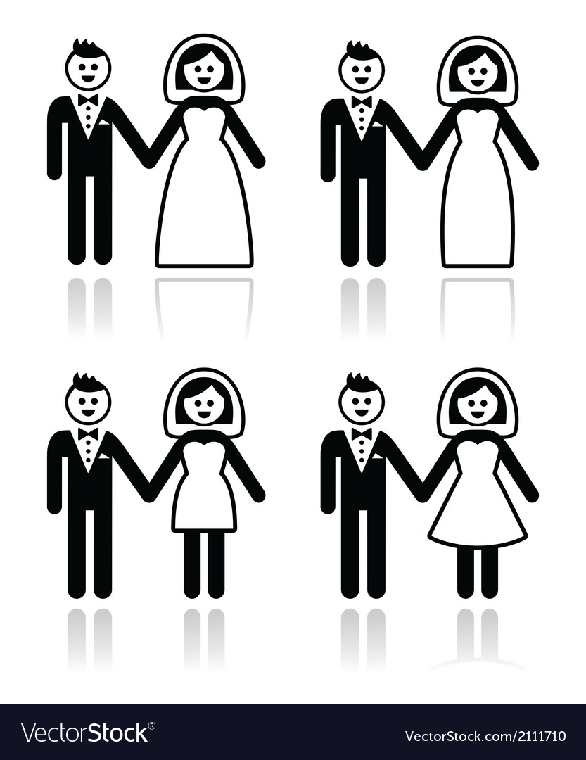 Wedding married couple bride and groom icons set vector | Price: 1 Credit (USD $1)