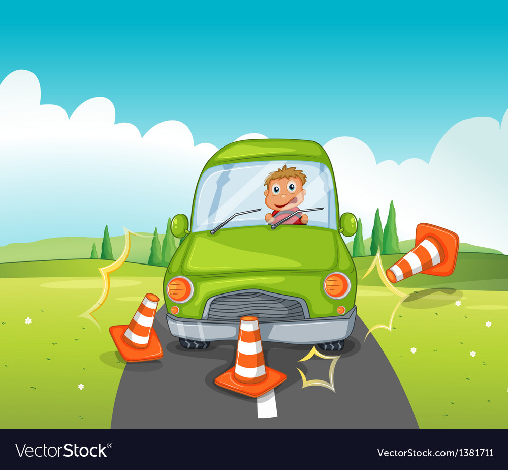 A boy riding on a green car bumping the traffic vector | Price: 1 Credit (USD $1)