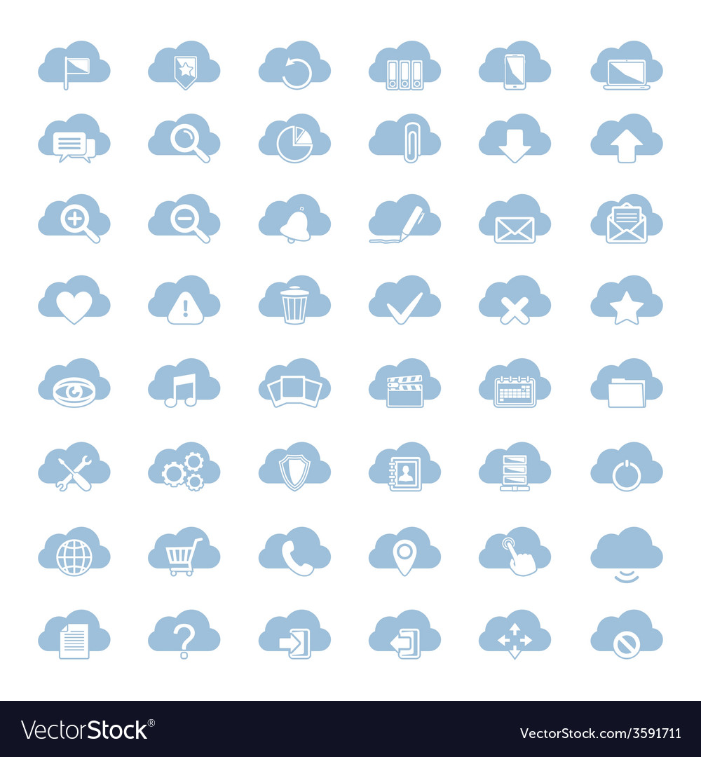 Big set of forty-six blue cloud shapes with white vector | Price: 1 Credit (USD $1)