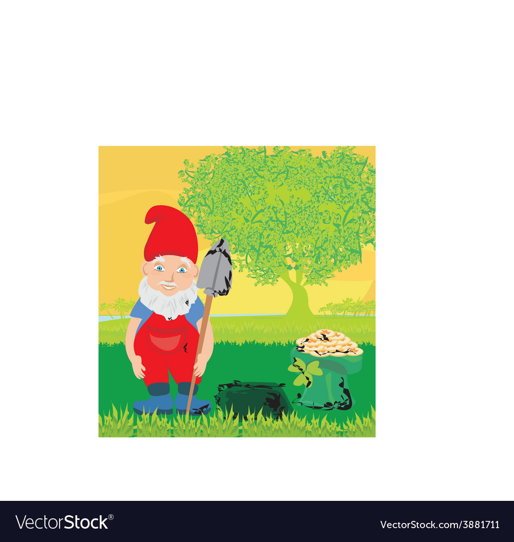 Cute dwarf with pot of gold coin vector | Price: 1 Credit (USD $1)