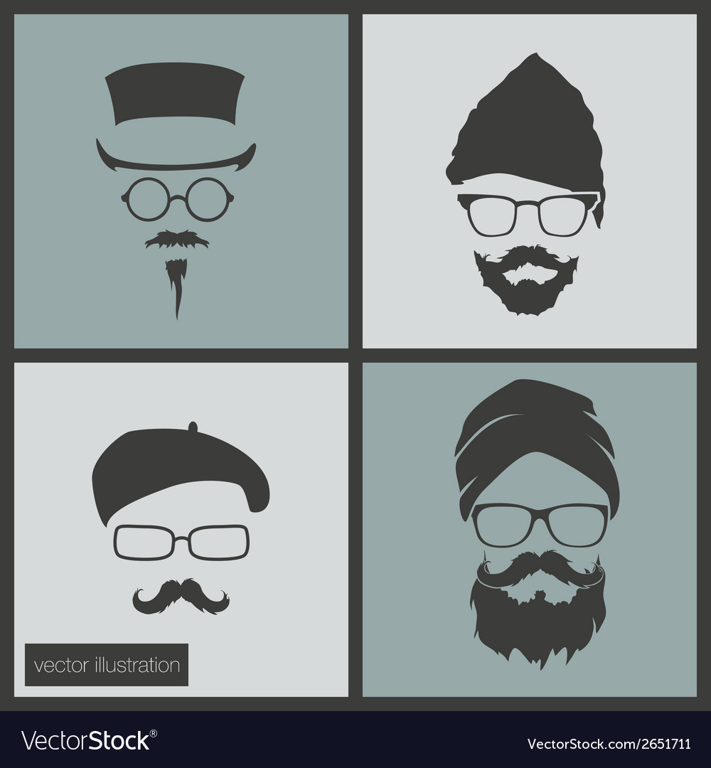 Icons hairstyles beard and mustache vector | Price: 1 Credit (USD $1)