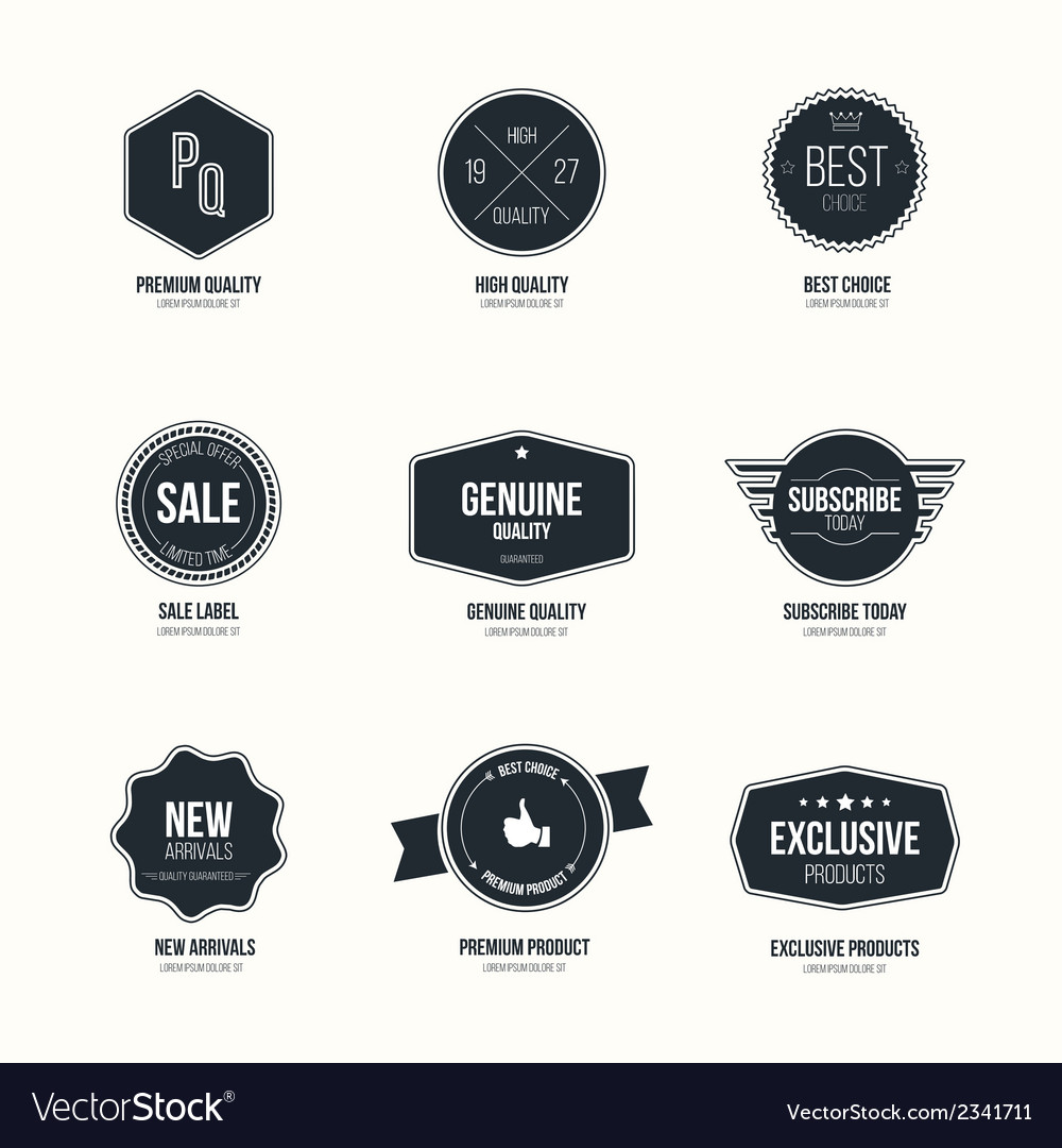 Mimalistic flat labels vector