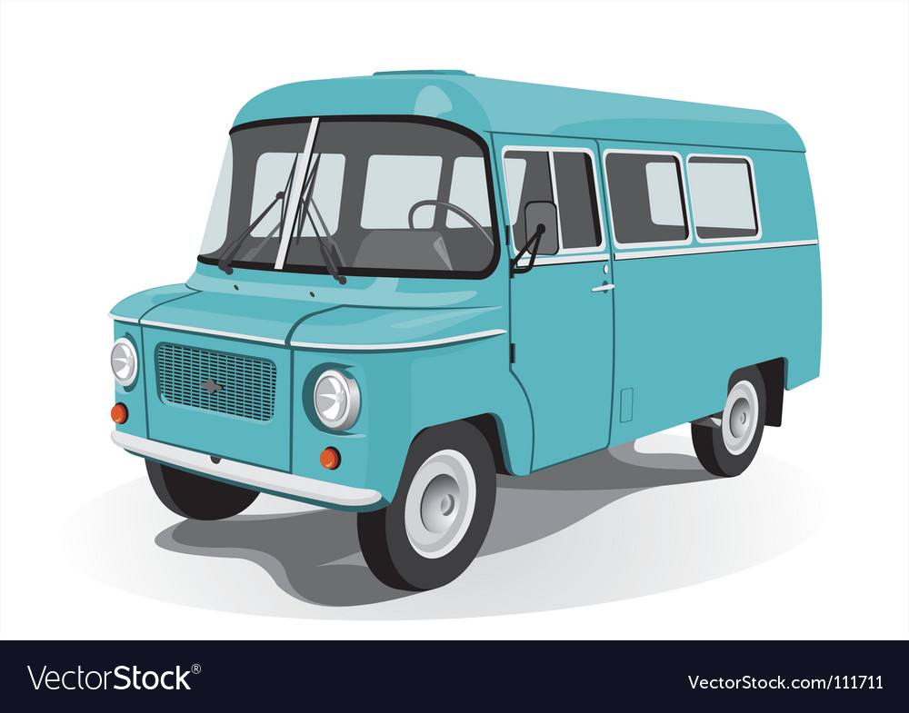 Retro mini bus vector | Price: 3 Credit (USD $3)