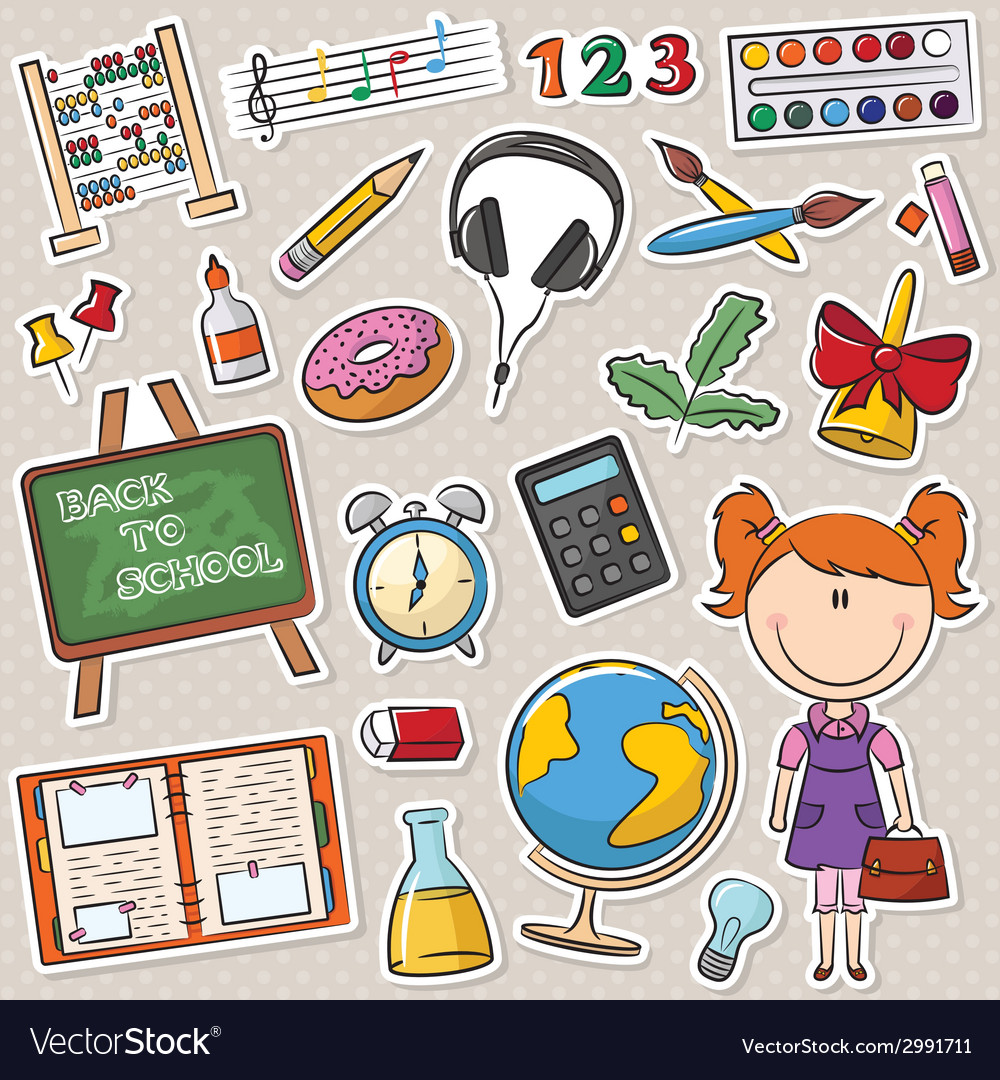 School girl with different education tools vector | Price: 1 Credit (USD $1)