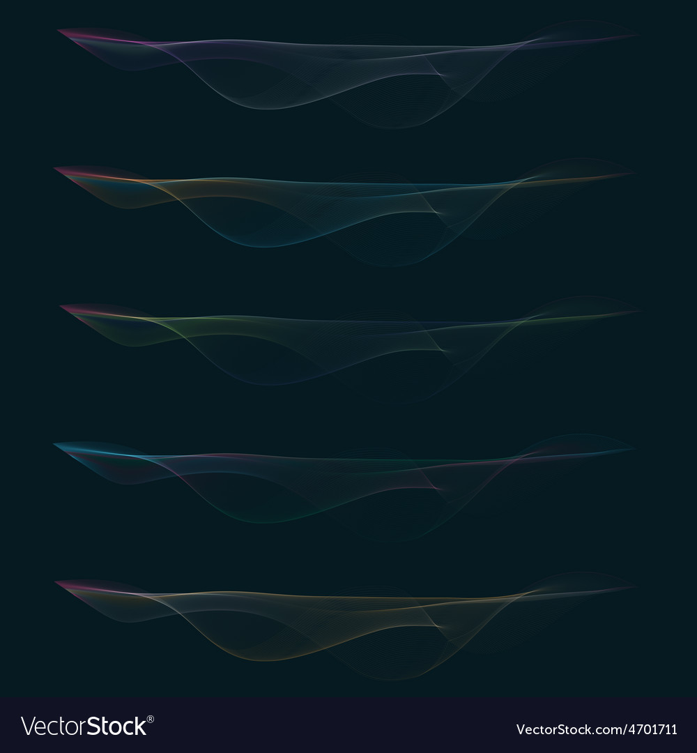 Set of colorful smoke waves vector | Price: 1 Credit (USD $1)