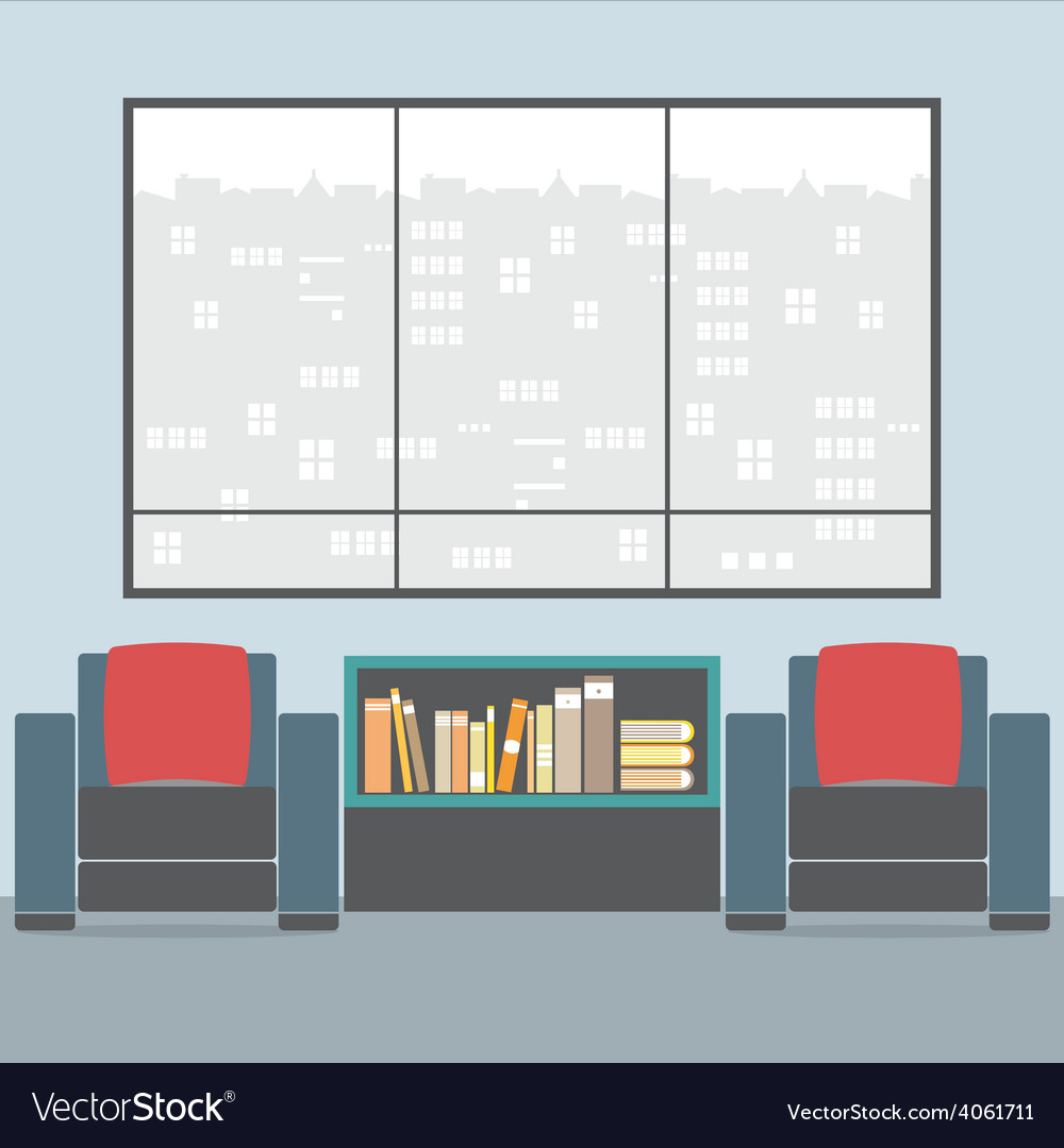 Sofas with bookcase in front of wide glass window vector | Price: 1 Credit (USD $1)
