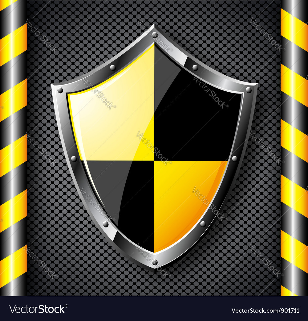 Steel shield over black dotted background vector | Price: 1 Credit (USD $1)