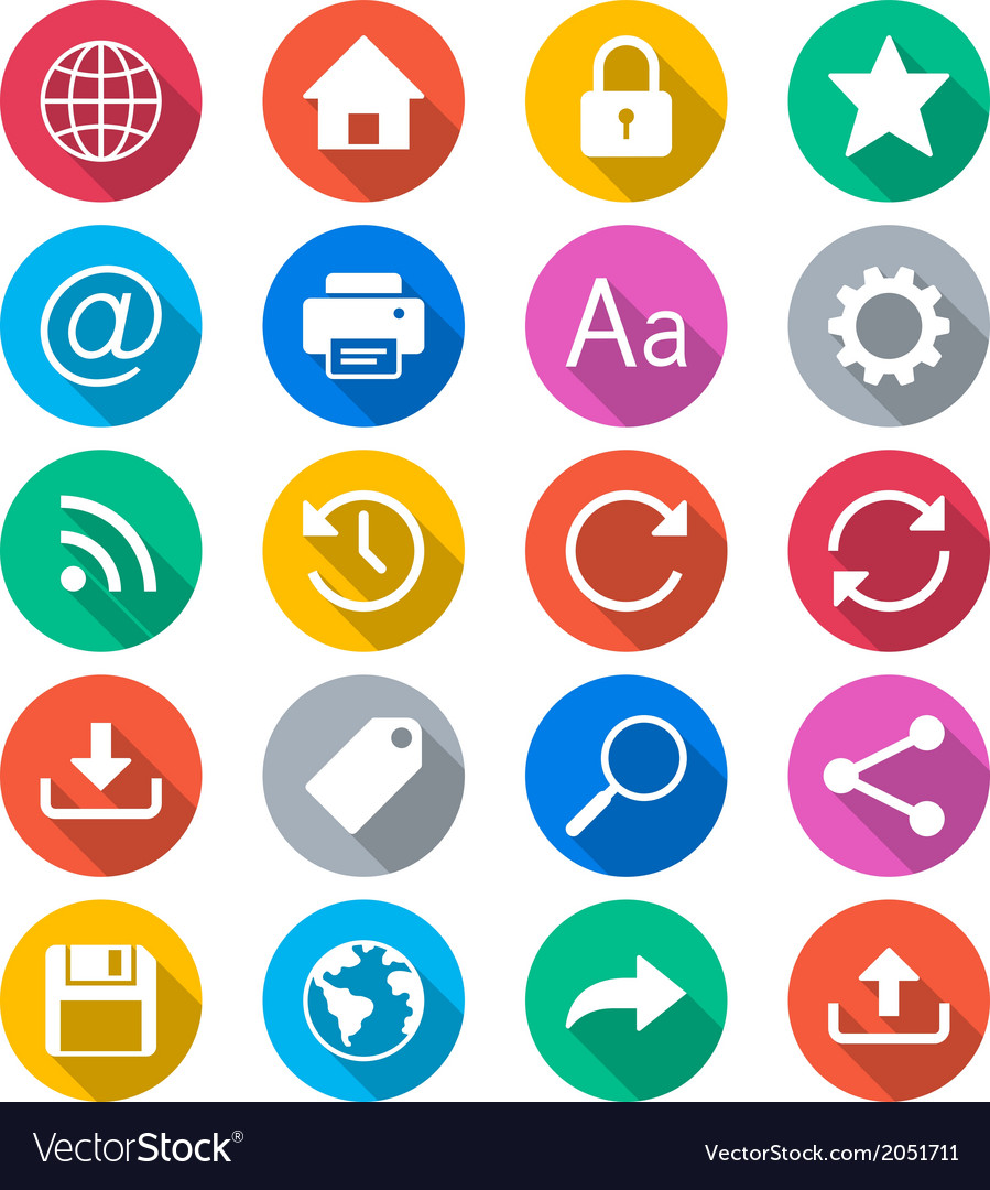 Web flat color icons vector | Price: 1 Credit (USD $1)