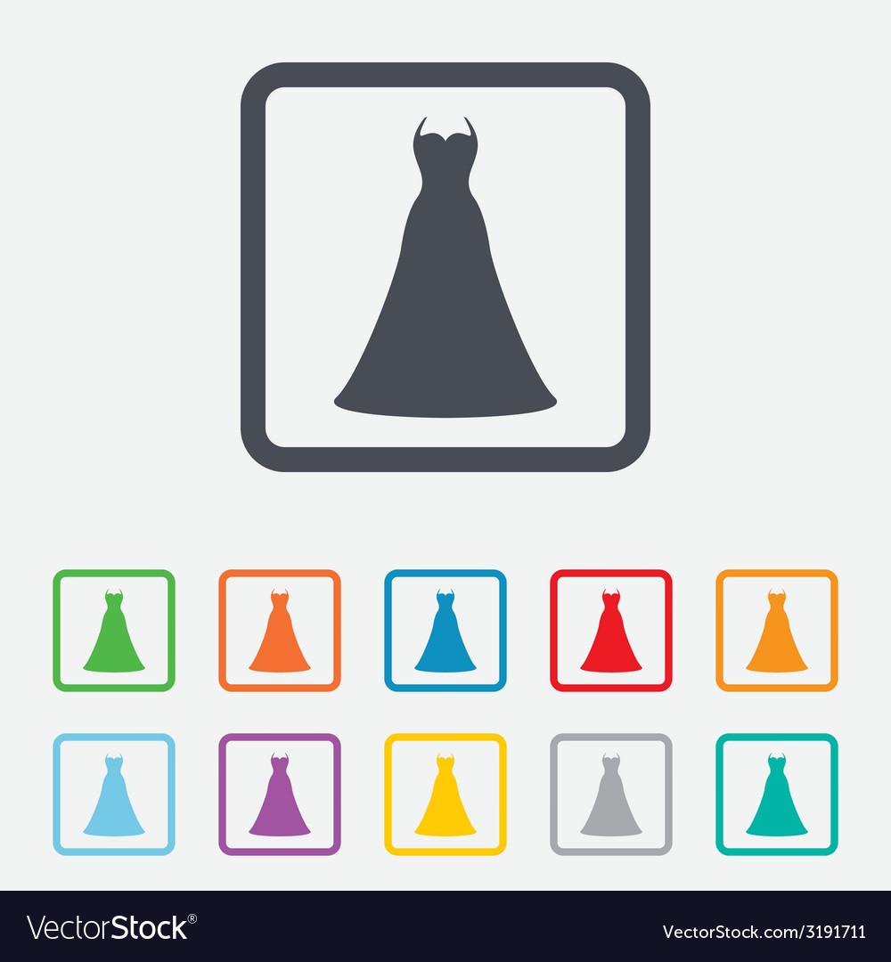 Wedding dress sign icon elegant bride symbol vector   Price: 1 Credit (USD $1)