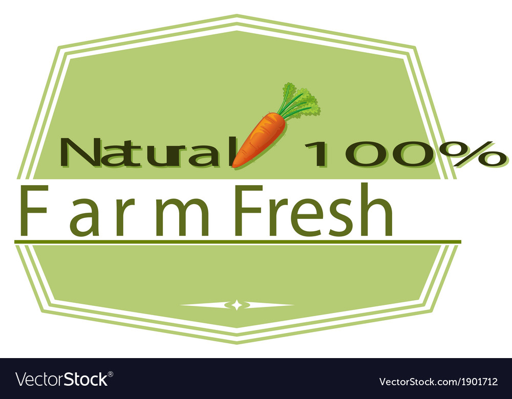 A natural label with a carrot vector | Price: 1 Credit (USD $1)