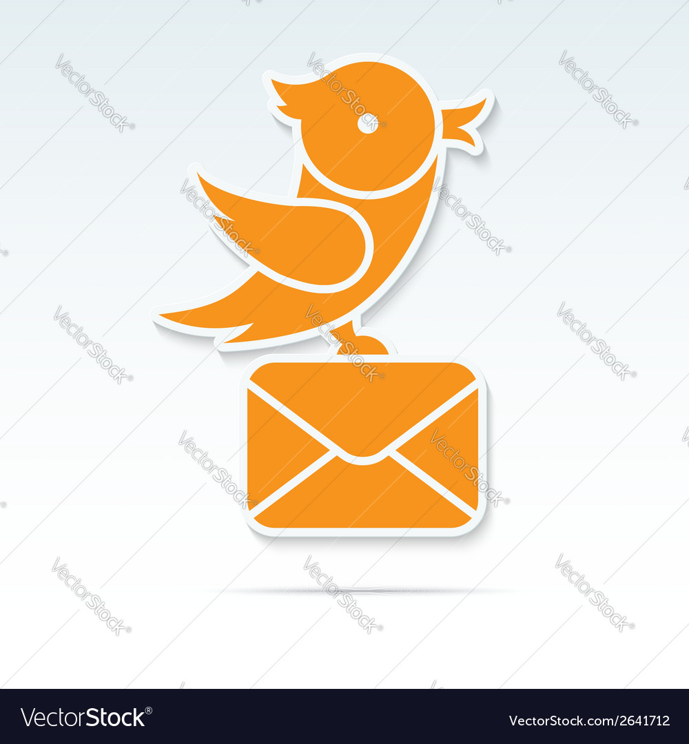 Bird carrying a letter vector | Price: 1 Credit (USD $1)
