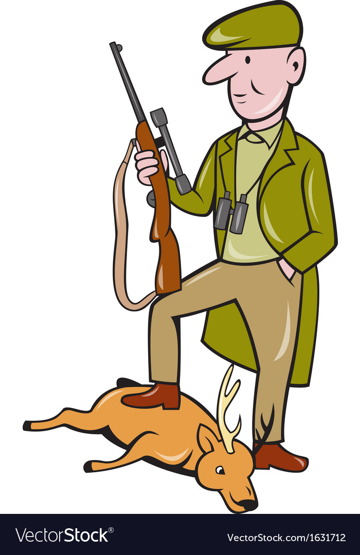 Cartoon hunter with rifle standing on deer vector | Price: 1 Credit (USD $1)