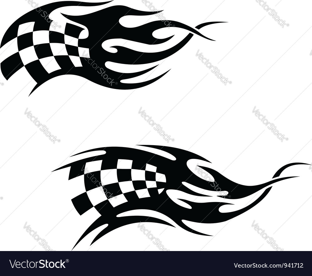 Checkered flag with black flames vector | Price: 1 Credit (USD $1)