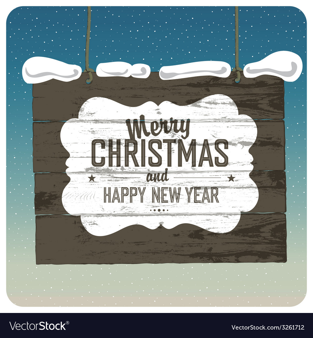 Christmas wooden signboard vector | Price: 1 Credit (USD $1)