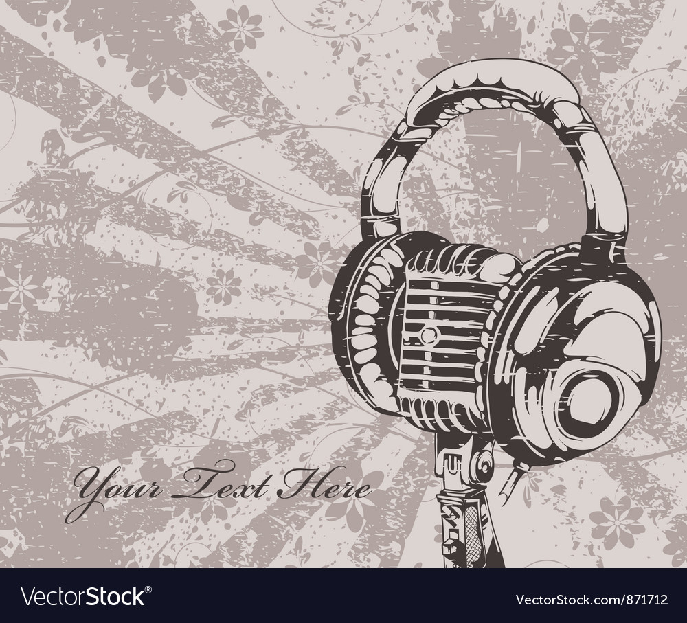 Concert wallpaper with microphone and headphones vector | Price: 1 Credit (USD $1)
