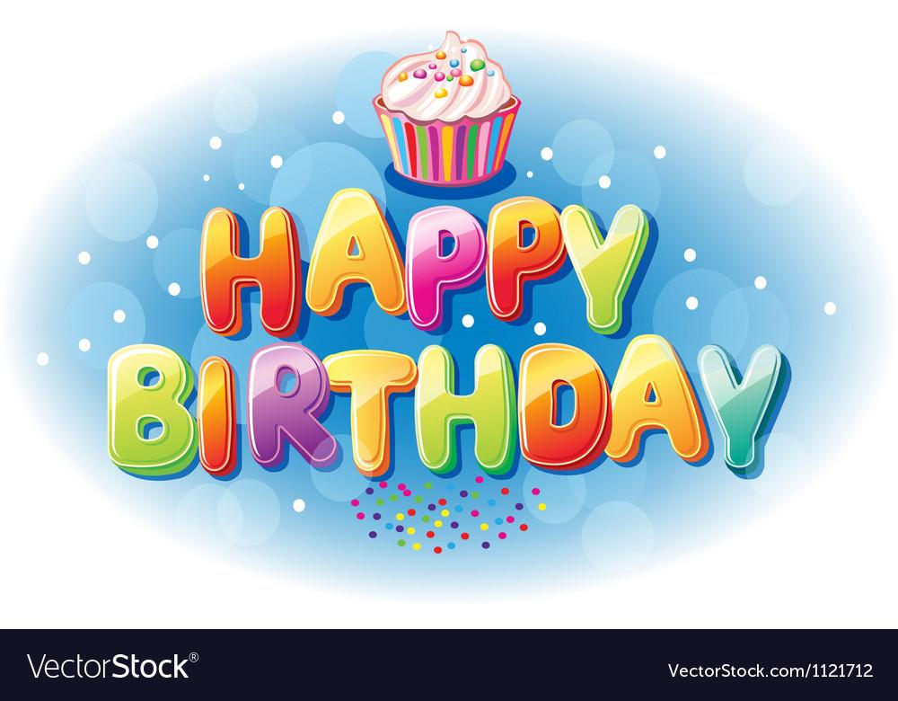 Happy birthday text vector | Price: 1 Credit (USD $1)