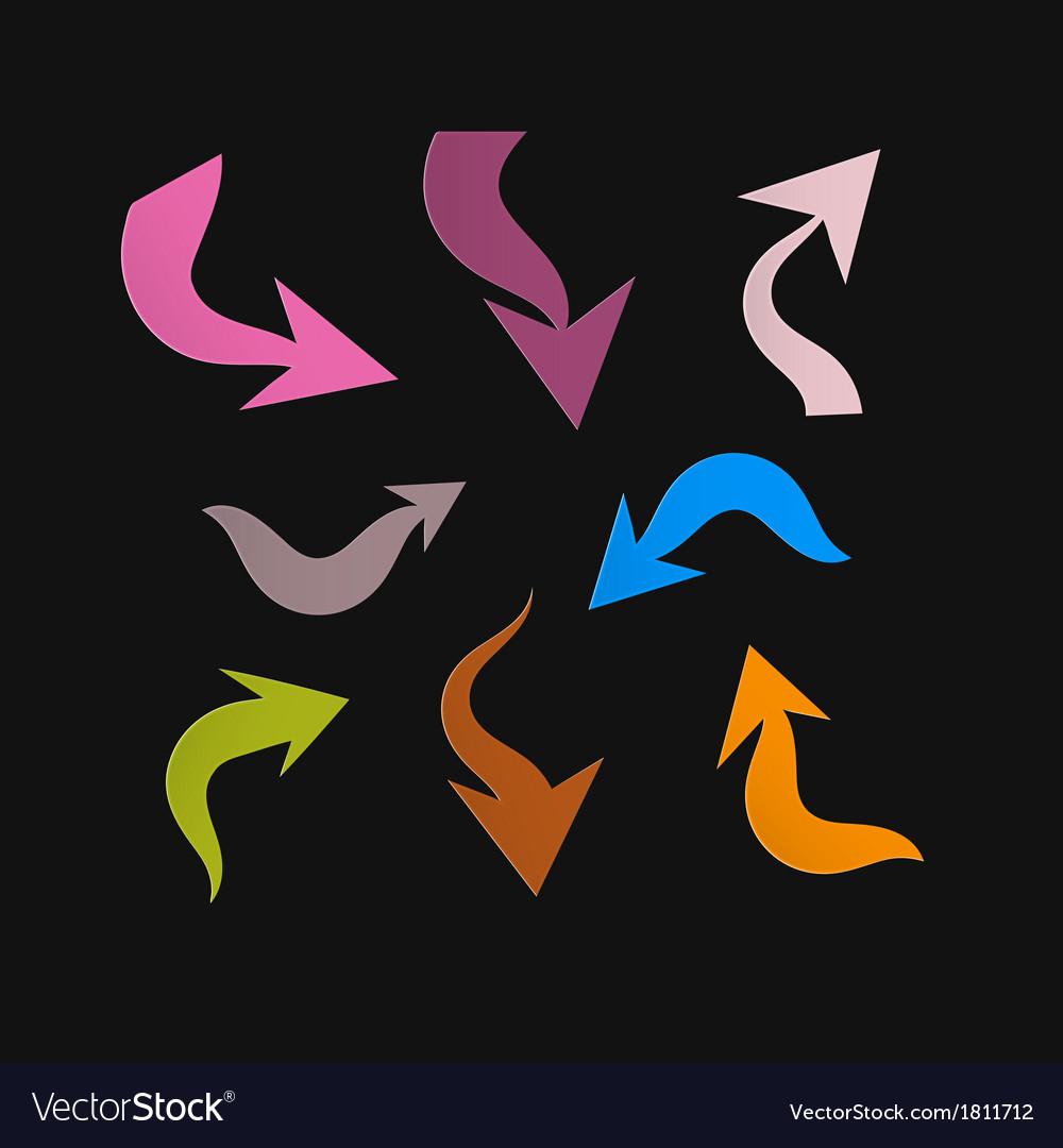 Retro paper arrows on black background vector | Price: 1 Credit (USD $1)