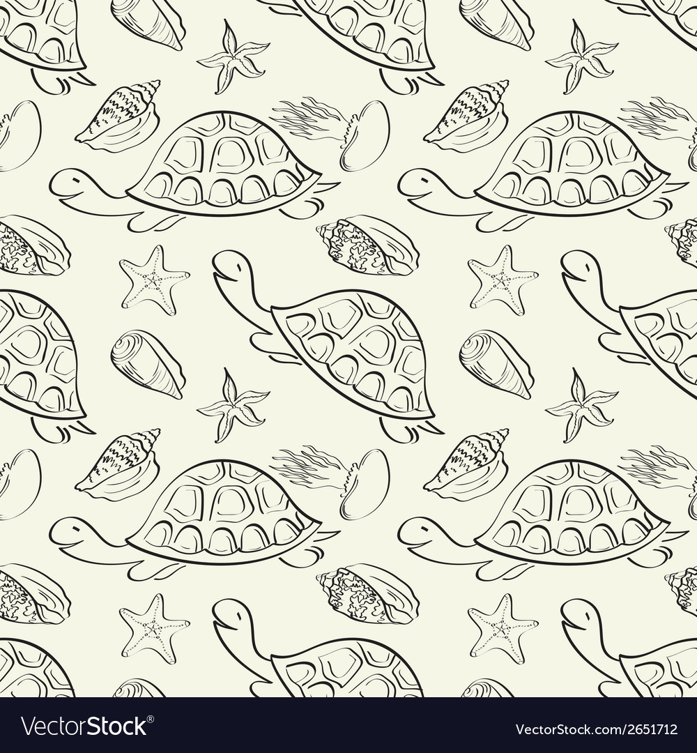 Seamless pattern marine animals contours vector   Price: 1 Credit (USD $1)