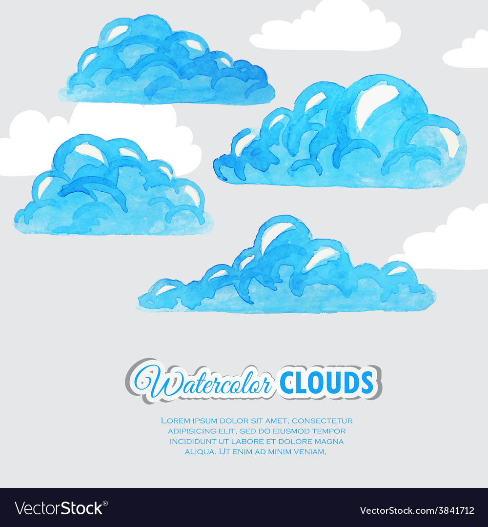 Set of watercolor clouds weather icons vector   Price: 1 Credit (USD $1)