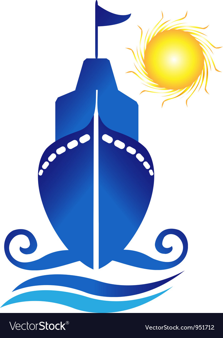 Ship sun waves logo vector | Price: 1 Credit (USD $1)