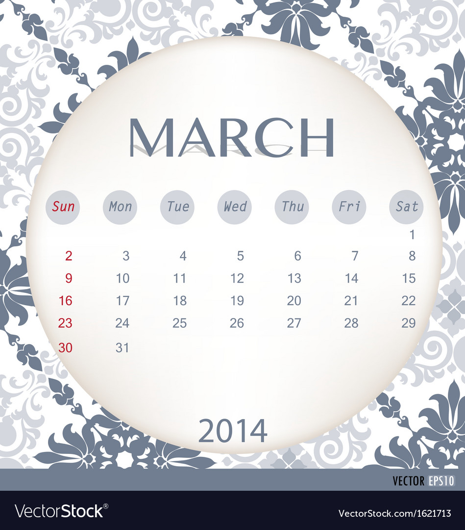 2014 calendar vintage calendar template for march vector | Price: 1 Credit (USD $1)